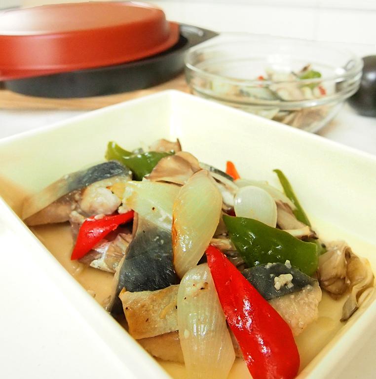 鯖と野菜のグリル さっぱり塩麹マリネ