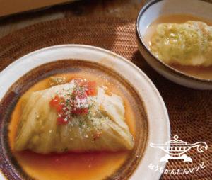 和だし&トマトスープチキンロールキャベツ
