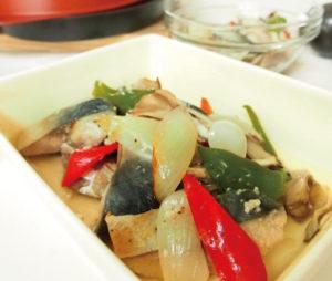 さばと野菜のグリルさっぱり塩麹マリネ
