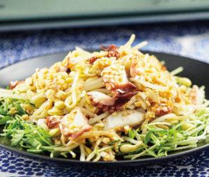 たこと大豆もやしの中華サラダ